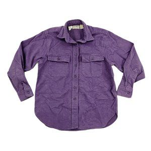 LL Bean Button Front Shirt Women 10 Purple Chamois